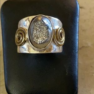 Druzy Sterling Silver Ring with Brass Swirls